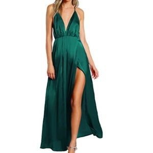 Dresses & Skirts - Satin Deep V Neck Backless Maxi Party Dress